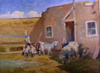 Small barnyard scene with animals including sheep, goats and a turkey.
